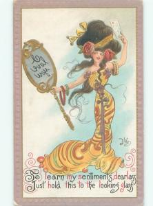 Pre-Linen Risque signed DWIG - SEXY GIRL WITH REVERSE MESSAGE IN MIRROR AB6088