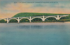 Delaware Water Gap PA, Pennsylvania - DL&W Railroad Viaduct - Linen