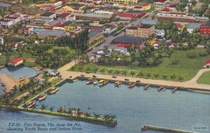 Aerial View Yacht Basin and Indian River Fort Pierce Florida 1950 Curteich
