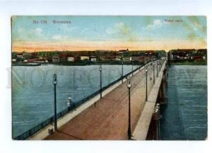 150520 POLAND Warsaw Bridge view Vintage postcard #139