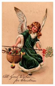 Christmas ,   Angel , Green Robe, carrying pole of Toys