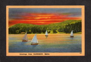 ME Greetings From Harrison Maine Linen Postcard Sailboats, Sailing