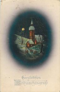 Vintage 1918 Christmas winter fantasy church