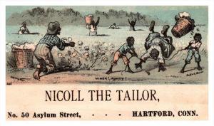 13116  Trade Card  Blacks Americana  Boys tripping Woman  CT  Hartford  Nicol...