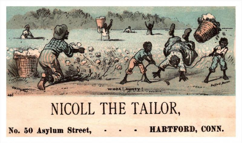 13116  Trade Card  Blacks Americana  Boys tripping Woman  CT  Hartford  Nicol...