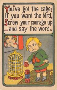 Comic Children Flirting: Got the Cage~Want the Bird? Screw Up Courage~Toy Blocks