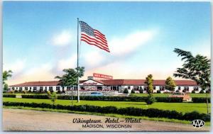 Madison, Wisconsin Postcard VIKINGTOWN HOTEL-MOTEL Roadside Chrome c1950s Unused