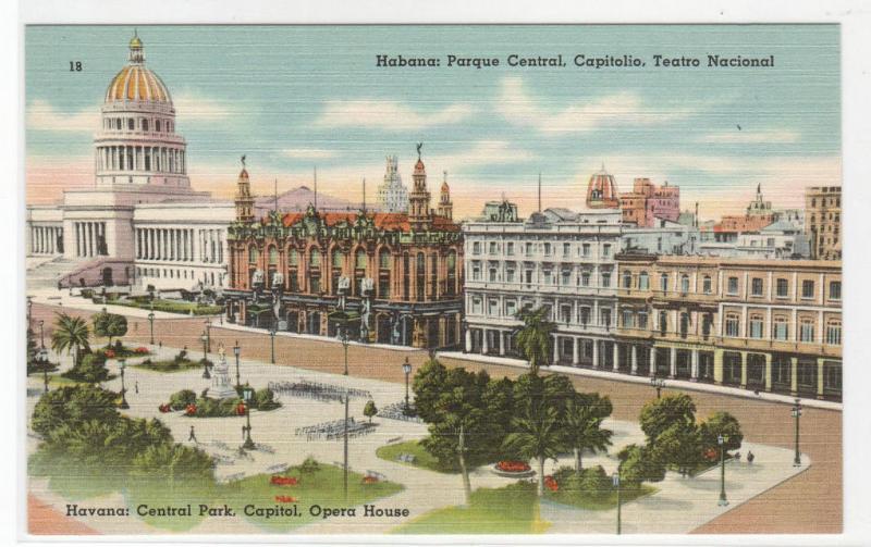 Parque Central Capitol Teatro Nacional Havana Cuba linen postcard