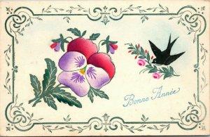 Bonne Annee/Happy New Year - Vintage Postcard - BIRDS FLOWER
