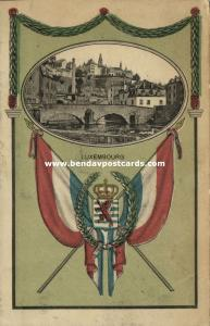 luxemburg luxembourg, Partial View, Coat of Arms, Flags (1910s)