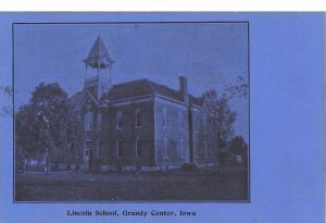 Grundy Center Iowa~Blue Postcard: Lincoln School c1906 UDB