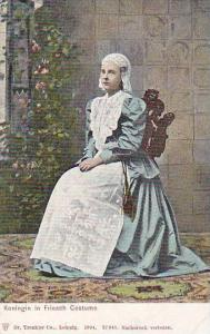 Lady Sitting On A Chair, Koningin In Friesch Costume, Netherlands, 1900-1910s