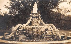 Humboldt IA Fay Hessian Statue~Liberty Fountain @ John Brown Park~RPPC c1914