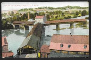 The Old Y Bridge Zanesville Ohio Unused c1910s