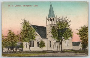 Effingham KS~Handcolored~United Methodist Episcopal Church~Open Belltower 1909