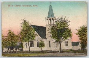 Effingham KS~Handcolored~United Methodist Episcopal Church~Open Belltower 1909