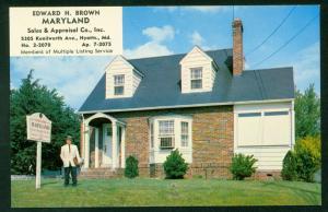 Advertising Postcard REALTOR Edward H Brown HYATTS Vintage Maryland