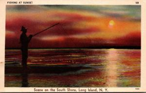 New York Long Island Scene On The South Shore Fishing At Sunset