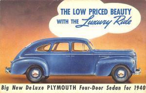 1940 New DeLuxe Plymouth Original Advertising Linen Postcard