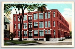 Skowhegan Maine~Maine Spinning Co Plant~Vintage Cars in Front~1920s Postcard