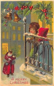 Red Suited Santa Claus A Merry Christmas Embossed Postcard