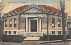 Lebanon Ohio~Carnegie Public Library~South Broadway Corner~1910 Handcolored PC