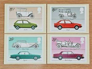 Set of 4 PHQ Stamp Postcards Set FDI (Back) No.63 British Motor Cars 1982 KJ6