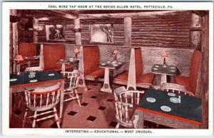Pottsville, PA Postcard Coal Mine Tap Room Necho Allen Hotel Booths c1940s