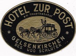 Germany Gelsenkirchen Hotel Zur Post Vintage Luggage Label sk2802