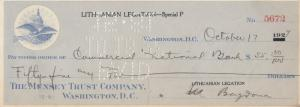 WASHINGTON D.C., 1927 ; Lithuanian Legation Check