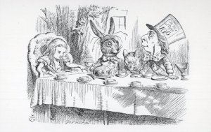 Mad Hatter's Tea Party Wine Alice In Wonderland Book Postcard