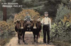 Sacandaga Park New York In the Backwoods Ox Cart Vintage Postcard JC932065