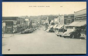 Ellsworth Maine me Main Street view scene old autos cars storefronts 1940s
