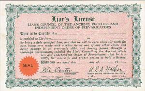 Humour Liar's License Card
