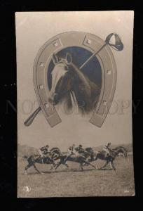 010887 Head of HORSE in Horse-Shoe & RACING Vintage COLLAGE PC