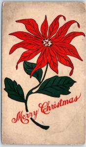 Vintage HOLLAND'S MAGAZINE Greetings Postcard MERRY CHRISTMAS Poinsettia Flower