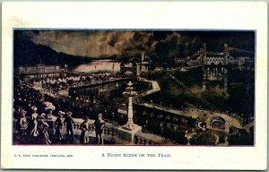 1905 Lewis & Clark Centennial Expo Portland Postcard NIGHT SCENE ON THE TRAIL