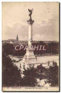 Old Postcard Bordeaux Girondins Monument