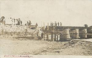 Sumner Iowa~Crowd Examines RR Bridge Wash Out on July 16th 1908~Real Photo~RPPC