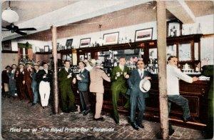 Bermuda The Royal Printe Bar Men with Drinks Unused Yankee Store Postcard F36