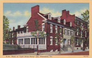 Virginia Alexandria Home Of Light Horse Harry Lee Curteich