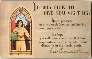 Church Stained Glass, Thank You for Visiting Vintage Postcard A13