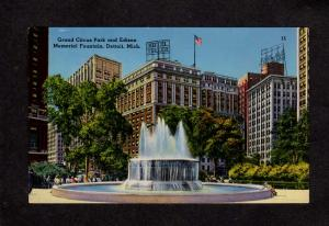 MI Grand Circus Park Fountain Hotel Tuller Statler Detroit Michigan Postcard
