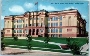 Denver, Colorado Postcard NORTH HIGH SCHOOL Building / Street View HHT c1920s