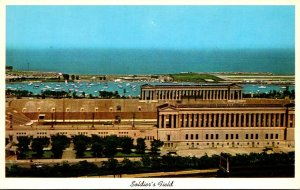 Illinois Chicago Aerial View Of Soldiers Field Showing Meigs Airport and Harb...