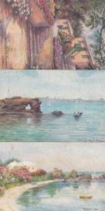 Bermuda Mangrove Bay Par Le Villa Gardens 3x Old Oilette Painting Postcard s
