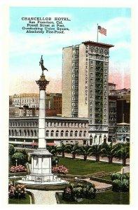 Chancellor Hôtel Union Carré Powell & Envoie St. San Francisco Ca Carte Postale