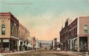 Vintage Postcard Center Street Pocatello ID Bannock County, Street Scene