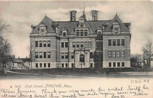 High School, Pittsfield, Massachusetts, Early Postcard, Used in 1906