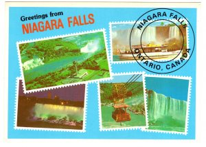 Greetings from Stamp Shaped Collage, Niagara Falls, Ontario